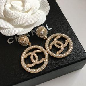 Pearl Hoop Chanel Earrings